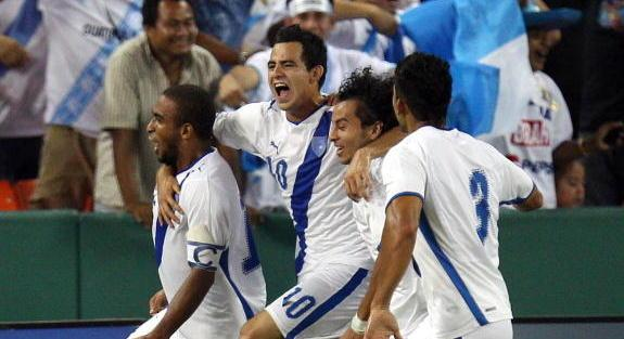 WASHINGTON - SEPTEMBER 7: Fredy Thompson #15 of Guatemala celebrates after scoring with Marco Pap...