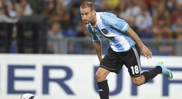 ROME, ITALY - AUGUST 14:  Rodrigo Palacio of Argentina in action during the international friendl...