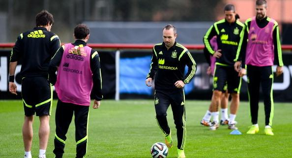 CURITIBA, BRAZIL - JUNE 21:  Andres Iniesta of Spain in action during a Spain training session at...