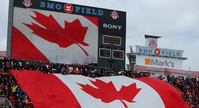 Toronto FC fans showing their national pride during the home opener against D.C. United in March.