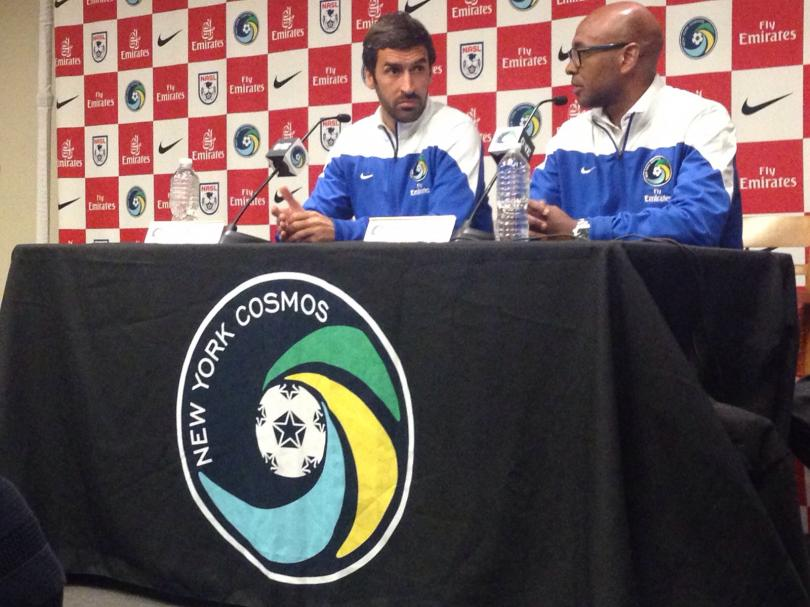 Raul Gonzalez and Marcos Senna during the press conference