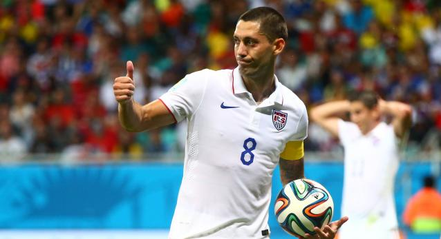 Jul 1, 2014; Salvador, BRAZIL; United States forward Clint Dempsey (8) reacts against Belgium during the round of sixteen match in the 2014 World Cup at Arena Fonte Nova. Belgium defeated USA 2-1 in overtime. Mandatory Credit: Mark J. Rebilas-USA TODAY Sports